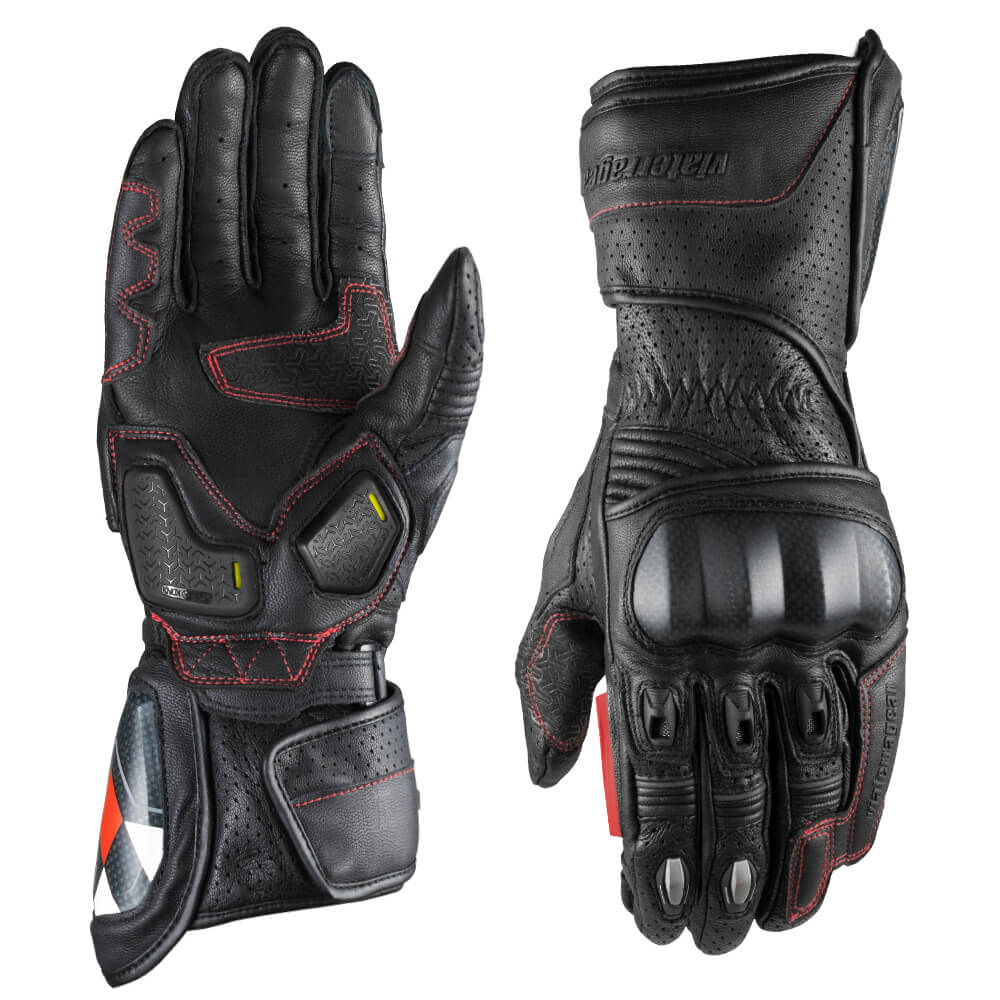 Grid Full Gauntlet Leather Glove