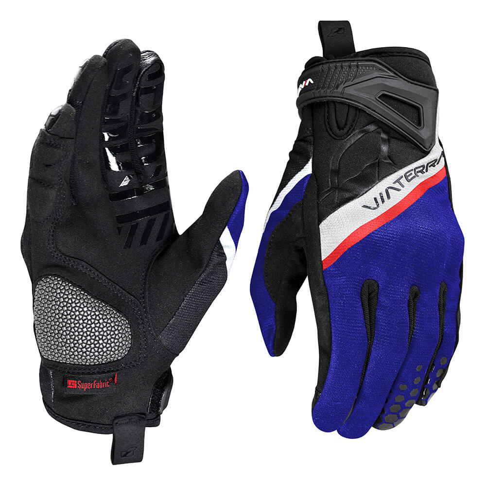 Roost offroad motorcycle gloves indigo blue